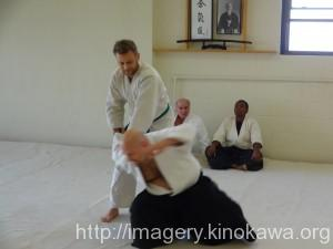 Mike Travlos during his 2nd kyu test.  Sensei JD as uke.