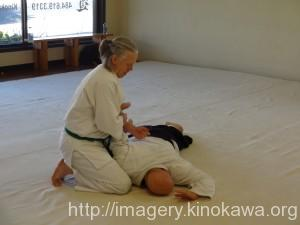 Peter Smith during his 2nd kyu test.  Sensei JD as uke.